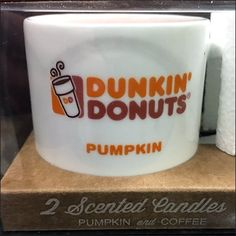 Coffee Scented Candles In Dunkin Donuts Mugs – Fixtures Close Up Dunkin Donuts, Scented Candles, Brewing, Pumpkin, Mugs, Coffee, Tableware, Christmas, Coffee Cafe