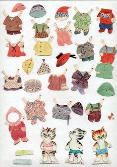 Vintage Whitman 2073 Pigs Bears Kittens Paper Dolls 1964 Cut w Folder Excellent | eBay