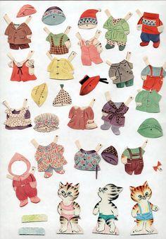 Vintage Whitman 2073 Pigs Bears Kittens Paper Dolls 1964 Cut w Folder Excellent | eBay