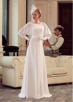 Glamorous Chiffon Bateau Neckline Sheath Wedding Dress With Handmade Flowers