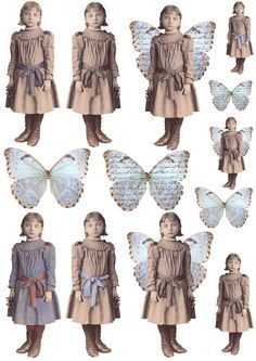Free freebie printable vintage girl photo butterfly wings