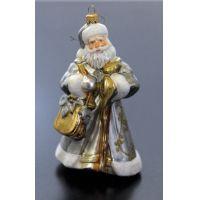 Décor de sapin Père Noël en verre, argent et or