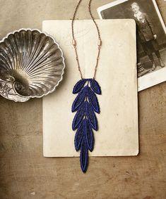 long boho necklace // LETO // lace feather necklace / boho chic necklace / blue necklace / bohemian jewelry / lace necklace
