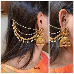 Jhumkas with Ear Chain by the brand Zahana ~ South India Jewels Indian Bridal Jewelry Sets, Indian Jewelry Earrings, Jewelry Design Earrings, Gold Earrings Designs, Indian Gold Necklace, Gold Jhumka Earrings, Gold Bridal Earrings, Fashion Earrings, Wedding Jewellery Designs