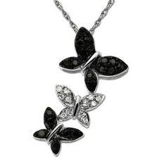 "14k White Gold Black and White Diamond Triple Butterfly Pendant (1/5 cttw), 18"""