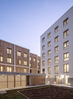 Image 14 of 29 from gallery of 71 Social Housing Units La Courneuve / JTB. Photograph by Luc Boegly Timber Staircase, Building Layout, Community Space, Timber Cladding, Social Housing, Duplex House, Living Environment, Interior Garden, Contemporary Architecture