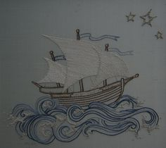 Hand Embroidery pattern pirate ship PDF instructions & от Taetia