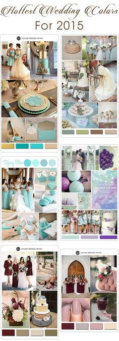top 10 most popular wedding color ideas for 2015 from http://www.elegantweddinginvites.com/category/wedding-color-palette/ #weddingcolors
