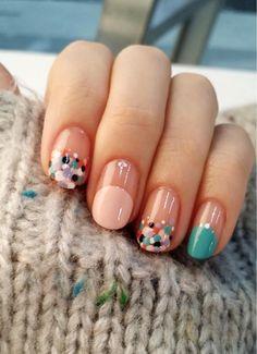Colorful nail design, dotted nail design, teal green and pink color mani - - Best Nail Art Dot Nail Designs, Colorful Nail Designs, Makeup Tips, Beauty Makeup, Eye Makeup, Finger Art, Pink Color, Colour, Pixie Haircut