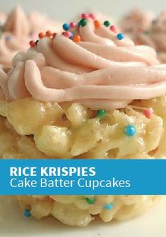 Rice Krispies Cake Batter Cupcakes -- Perfect for your child's birthday party.