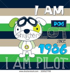 cute dog pilot with glasses on striped background, T-shirt design vector illustration