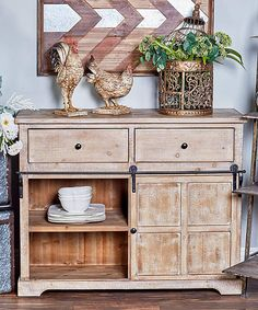 Look at this Wood & Metal-Accent Cabinet Wide Bookcase, Modern Bookcase, Kitchen Pantry Cabinets, Storage Cabinets, Sliding Cabinet Doors, Sliding Door, Light Wood Cabinets, Wood Accents, Apartment Living