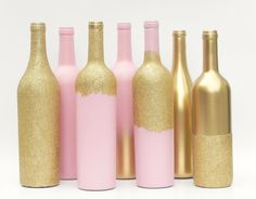 Gold Metallic Pink and Glitte Painted Wine by SoFrickinCute
