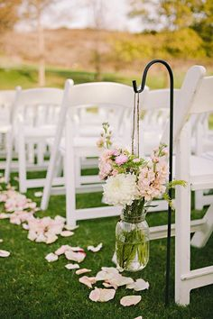 Vintage red barn wedding ceremony, hanging mason jars chair decor, summer wedding inspiration