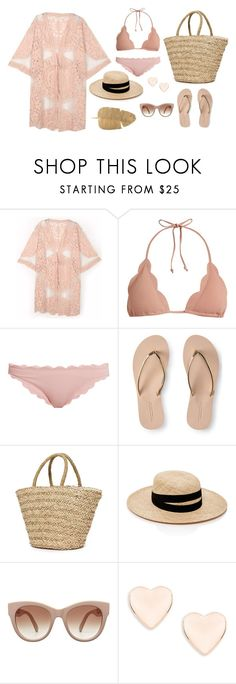 """""""Summer vibes"""" by sophiahbrey ❤ liked on Polyvore featuring Do Everything In Love, Marysia Swim, Aéropostale, Sundry, Janessa Leone and Ted Baker"""