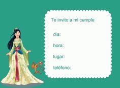 Invitación princesa Mulan
