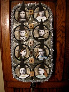 """Altered muffin tin by Angellea (glitterbug) I would like to do this in a Christmas theme with """"Cheer"""" letters down the middle and red or green tinsel trim."""