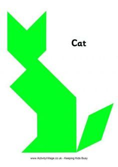 Tangram Pattern Cat. link has lots of...patterns so you can print them out and the kids can lay their tangrams on top of the patterns. A good stepping stone for slightly younger kids.