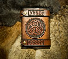 Celtic Knot Work Leather Journal Cover by PrimitveDesigns on Etsy