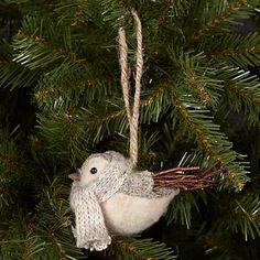 Buy John Lewis Knitted Wool Bird Tree Decoration, Grey Online at johnlewis.com