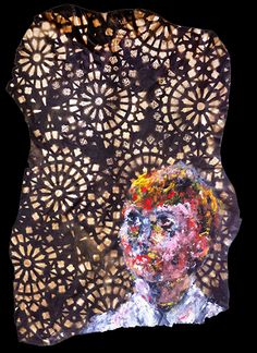 stencil, marker and oil on leather, 2015 Markers, Stencils, Sequin Skirt, Sequins, Portraits, Oil, Leather, Fashion, Moda