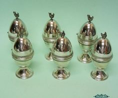 Pasarel - Set Of 6 Artisan Sterling Silver Rooster And Hen Egg Cups. $995