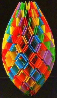 Multi-colored rainbow origami Knotology by Hienz Strobl