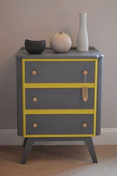 grey and yellow upcycled antique cabinet chest - Google Search