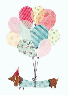 Ideas dogs happy birthday illustration for 2019 Childrens Book Illustration, French Illustration, Cute Illustration, Happy Birthday Illustration, Balloon Illustration, Happy Birthday Cards, Birthday Greeting Cards, Birthday Greetings, Card Birthday