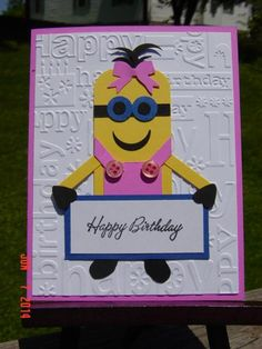 I don't recall a girl minion but today for my granddaughter's 10th birthday I decided only a girl would do!!  I found [url=http://www.pinterest.com/pin/168885054749503641/][COLOR=Pink]this[/COLOR][/url] cute minion on Pintrest.  I fashioned gloved hands from the oval scallop punch & boots from the 5-petal punch.  She has blue eyes because Natalie has the most beautiful bluest eyes.  I think she will enjoy this.  We went shopping for craft supplies for her birthday!  What fun!  Thanks for…