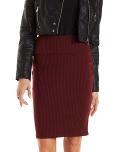 Ribbed Pencil Skirt by Charlotte Russe - Burgundy
