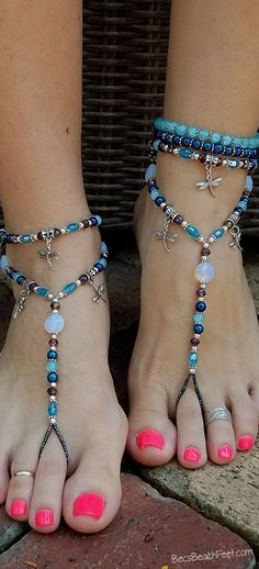 Dreamscape  ☽☼☾  Perfect for anyone who loves or collects dragonflies. ✿ Foot Jewelry •  Barefoot Sandals • Anklets • Bracelets