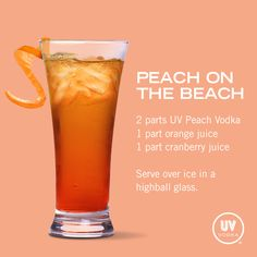 UV Vodka Recipe: Peach on the Beach
