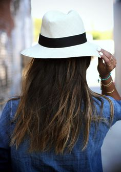 Julie Sarinana is wearing a blue denim shirt and shorts from Madewell and hat from Aritzia