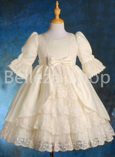 312312454e7 Quality Satin Lace Wedding Flower Girl Party Victorian Dress Kid Size 1-9  VD003