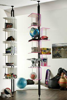 Sectional floor-ceiling mounted metal bookcase CARPE DIEM by F. Large Bookshelves, Metal Bookcase, Open Bookcase, Bookcases, Shelf Furniture, Unique Furniture, Furniture Design, Console Storage, Unique Shelves