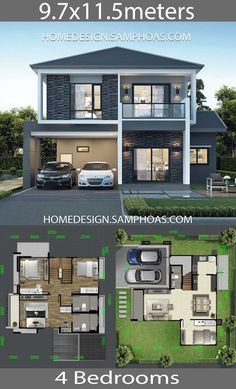 Architecture House Design House design Plans with 4 bedrooms - Home Ideassearch Two Story House Design, 2 Storey House Design, Modern Small House Design, Bungalow House Design, Cool House Designs, House Plans Design, House Layout Plans, Duplex House Plans, Dream House Plans