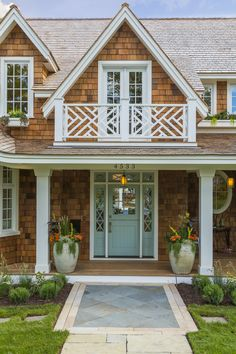 That balustrade though, House of Turquoise: Mpls.Paul Magazine ASID MN Showcase Home House Of Turquoise, Coastal Cottage, Coastal Homes, Style At Home, Cozy Basement, House Paint Exterior, Beach Cottages, House Painting, House Colors