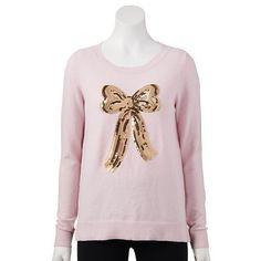 LAUREN CONRAD Pink Sequin Bow Long Sleeve Hi Low Tunic Sweater Size S 4-6 NWT