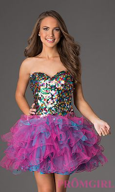 Short Strapless Sweetheart Dress  at PromGirl.com #promgirl #bat #mitzvah #party