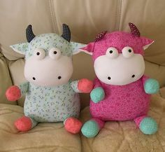 NEW Handmade Fabric Soft Toys Muppet Dolls Stuffed Animal Kids Toys Twin Cows | eBay