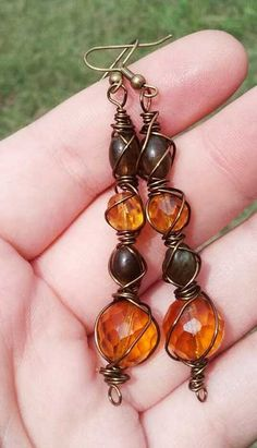 Faerie Queen - wire wrapped vintage upcycled glass and labradorite dangle earrings - $20