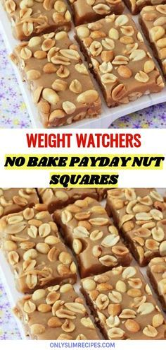NO BAKE PAYDAY NUT SQUARES // weightwatchersrecipes smartpointsrecipes WeightWatchers weight_watchers Healthy Skinny_food recipes smartpoints Nobake 820429257100812990 Ww Recipes, Candy Recipes, Gourmet Recipes, Recipies, Caramel Recipes, Cleanse Recipes, Ww Desserts, Healthy Desserts, Dessert Recipes