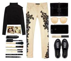 """Versace pants"" by juliehalloran ❤ liked on Polyvore featuring Versace, Valentino, Linda Farrow, Nine West, NARS Cosmetics, Polaroid and Bobbi Brown Cosmetics"