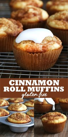 Moist and tender gluten free cinnamon roll muffins are like the best…