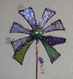 Stained Glass Copper art Garden Plant STake by Groovyglass on Etsy