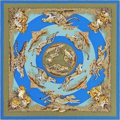 """ Guépards "" Hermes silk twill scarf, hand rolled, 36"" x 36""---    Designed by Robert Dallet"