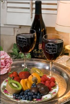 a special order fruit/sweet tray with an Oregon Pinot Noir
