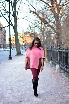 Street Style, WINTER, Jessica faulkner circle coat, knee high boots, boston, pink, blush pink, burgundy, blanket coat, ootd, blogger style