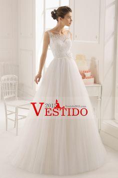 2015 correas Corte vestido de boda de Tulle Línea de cola con apliques y hecho a mano de la flor